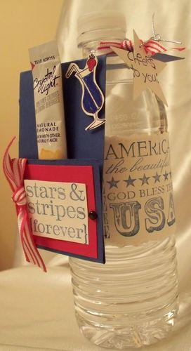 Side view water bottle patriotic