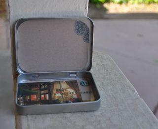Inside green gift card holder