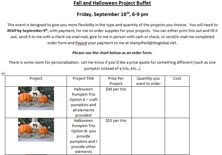 Fall and Halloween Buffet page 1