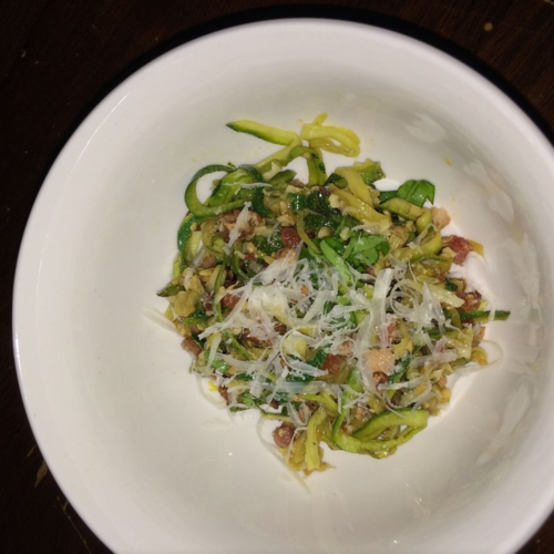 Zoodles with garlic lemon and pancetta